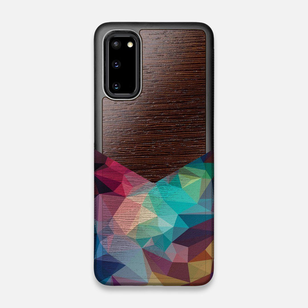Front view of the vibrant Geometric Gradient printed Wenge Wood Galaxy S20 Case by Keyway Designs