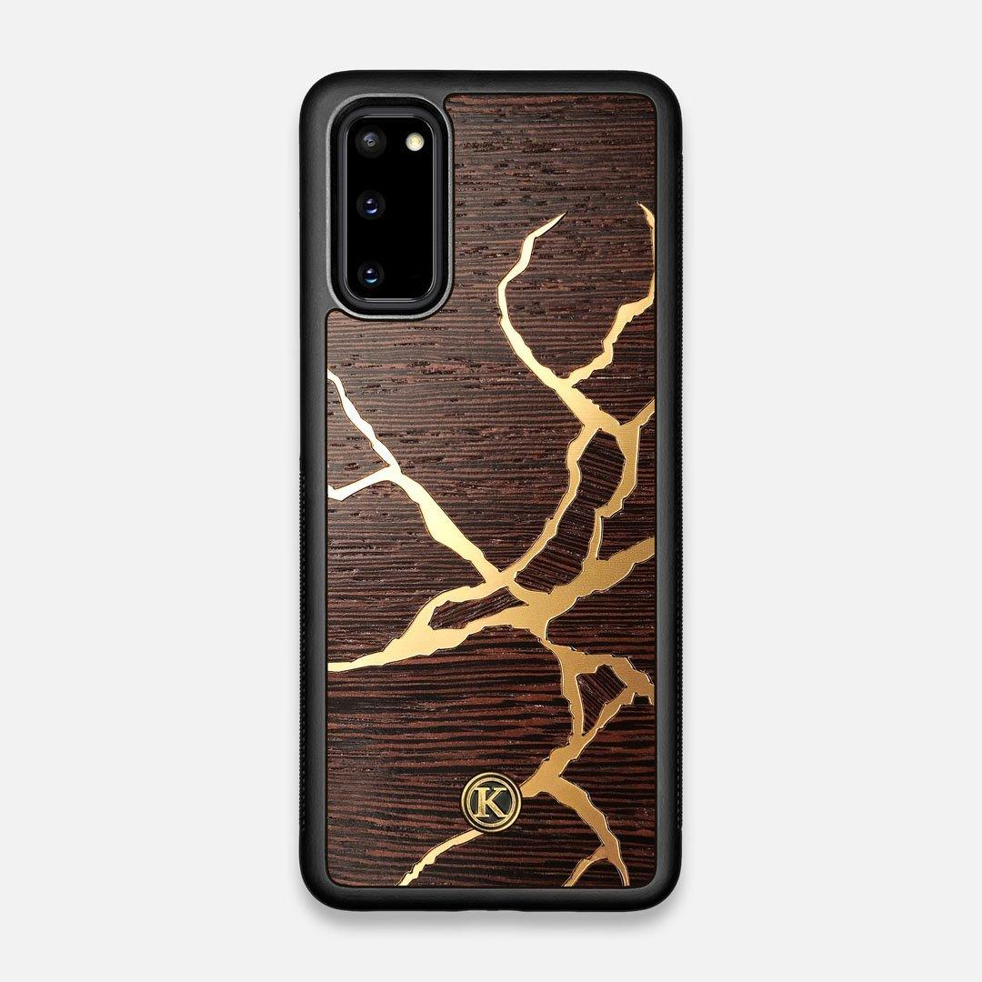 Front view of the Kintsugi inspired Gold and Wenge Wood Galaxy S20 Case by Keyway Designs