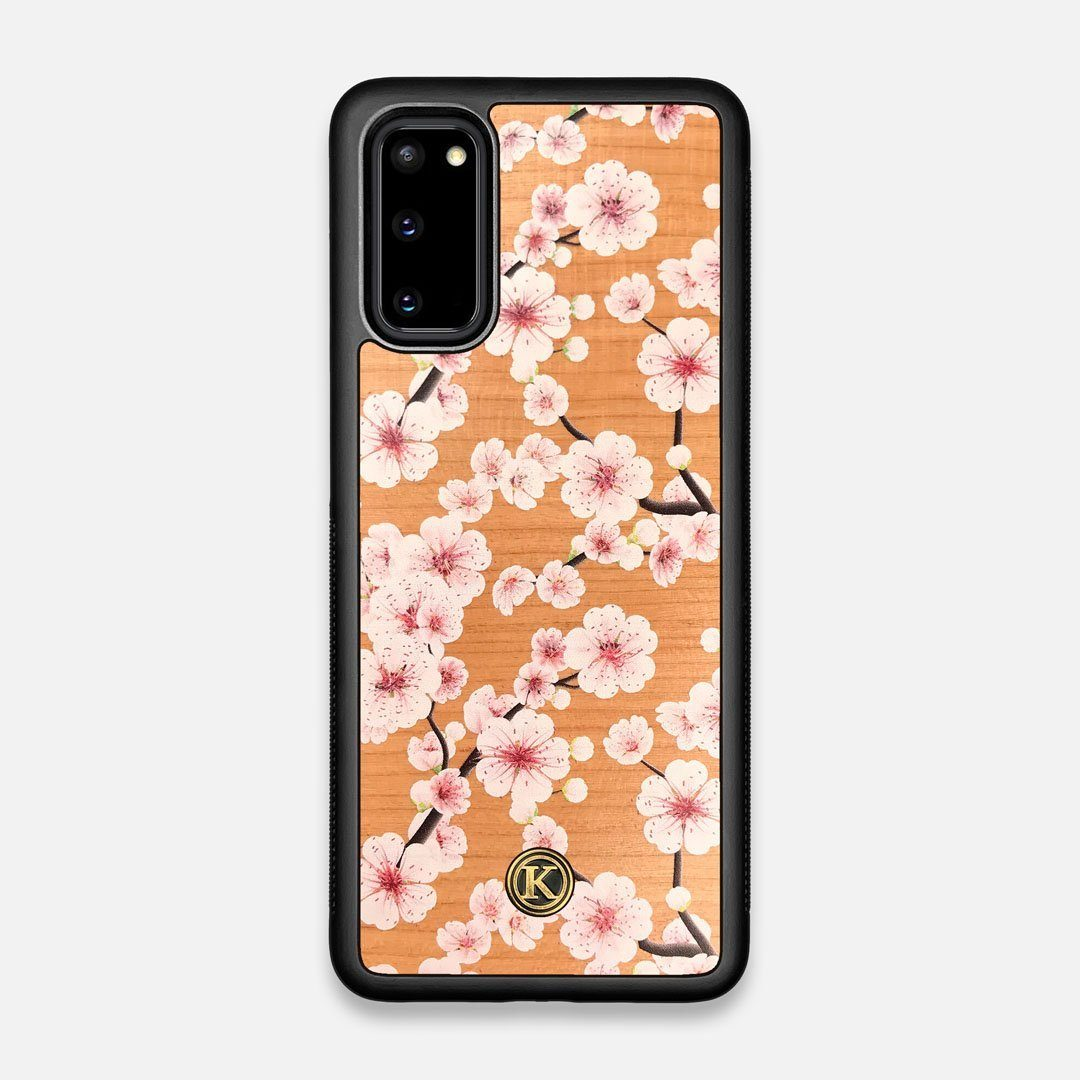 Front view of the Sakura Printed Cherry-blossom Cherry Wood Galaxy S20 Case by Keyway Designs