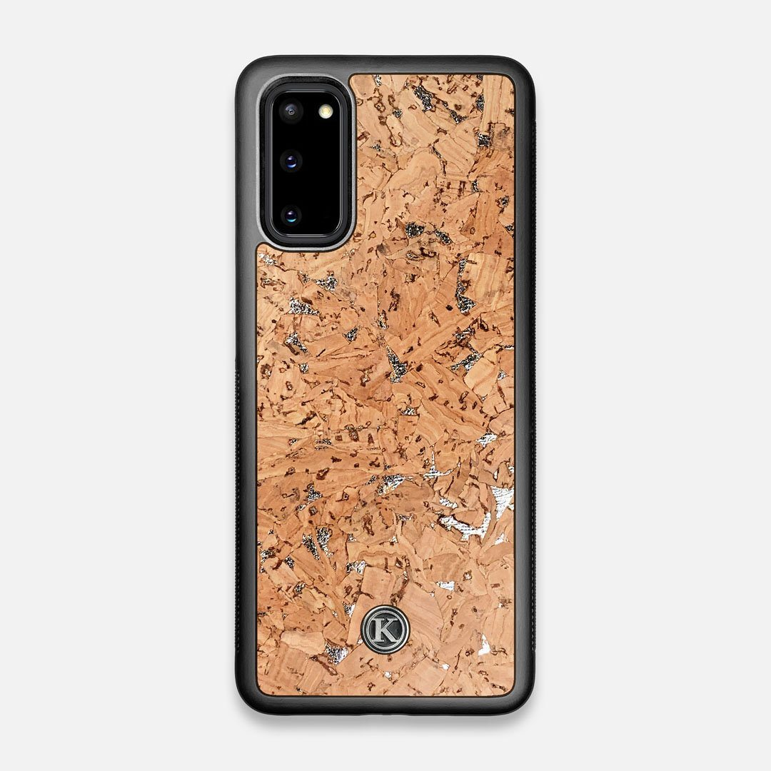 Front view of the silver fleck natural cork Galaxy S20 Case by Keyway Designs