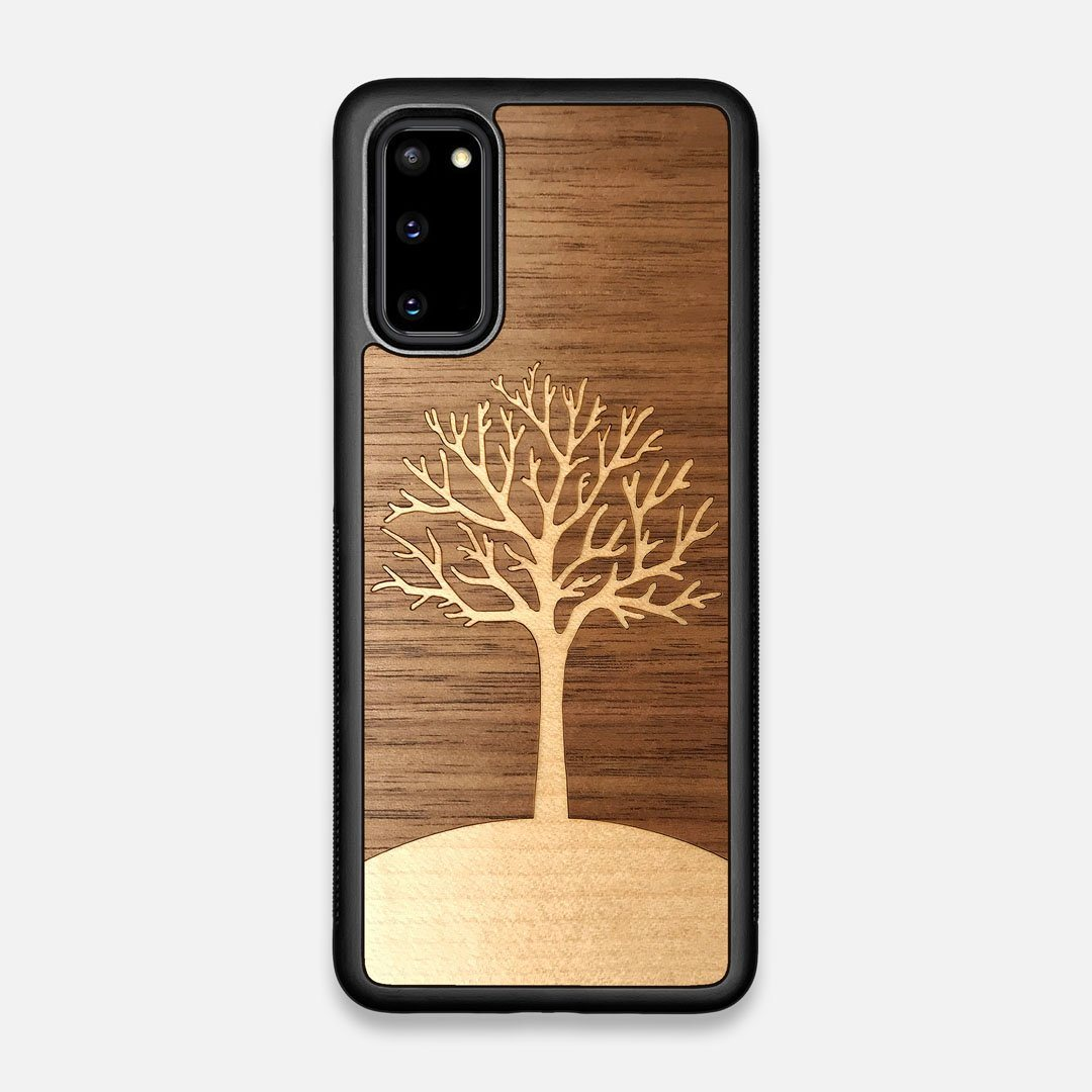 Front view of the Tree Of Life Walnut Wood Galaxy S20 Case by Keyway Designs