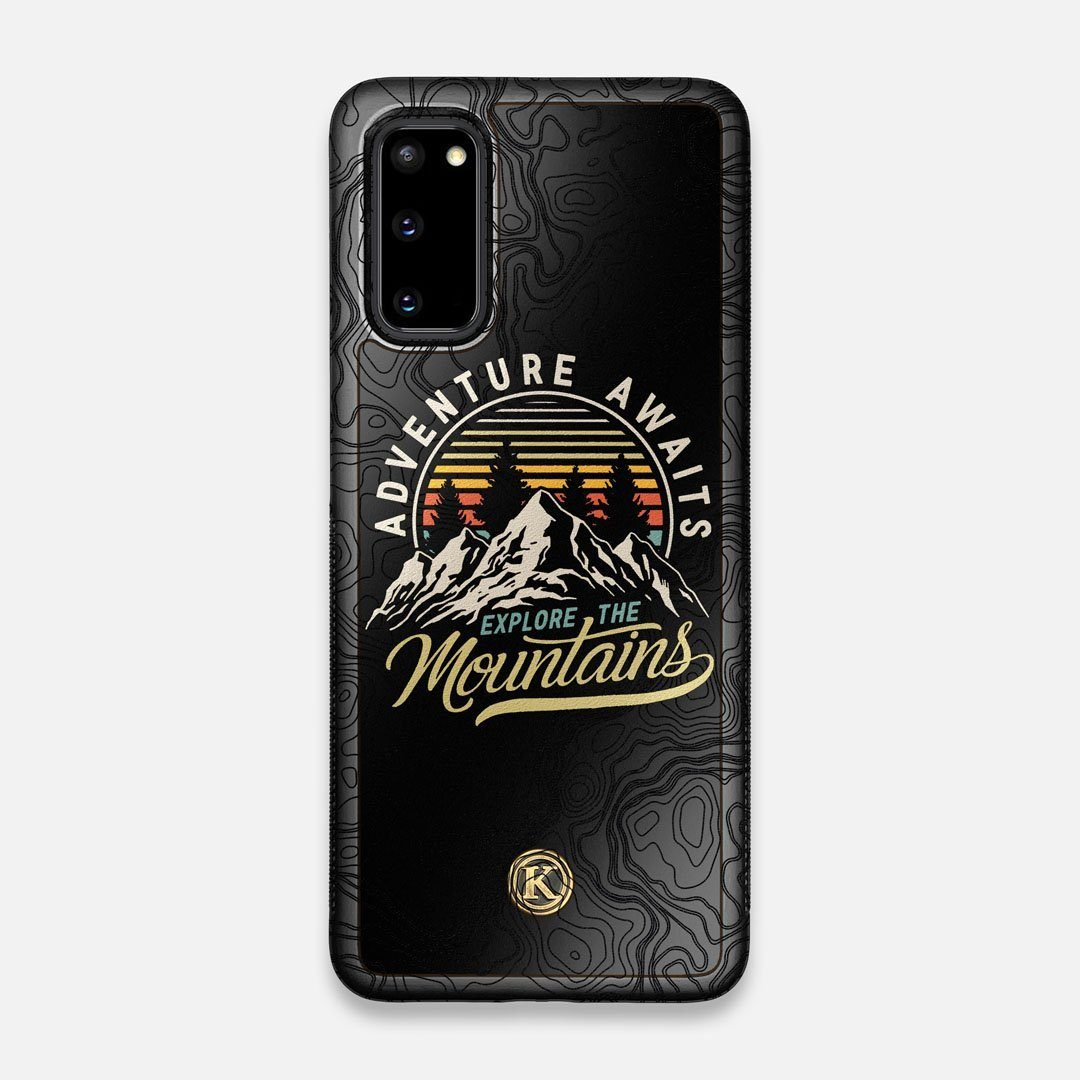Front view of the crisp topographical map with Explorer badge printed on matte black impact acrylic Galaxy S20 Case by Keyway Designs