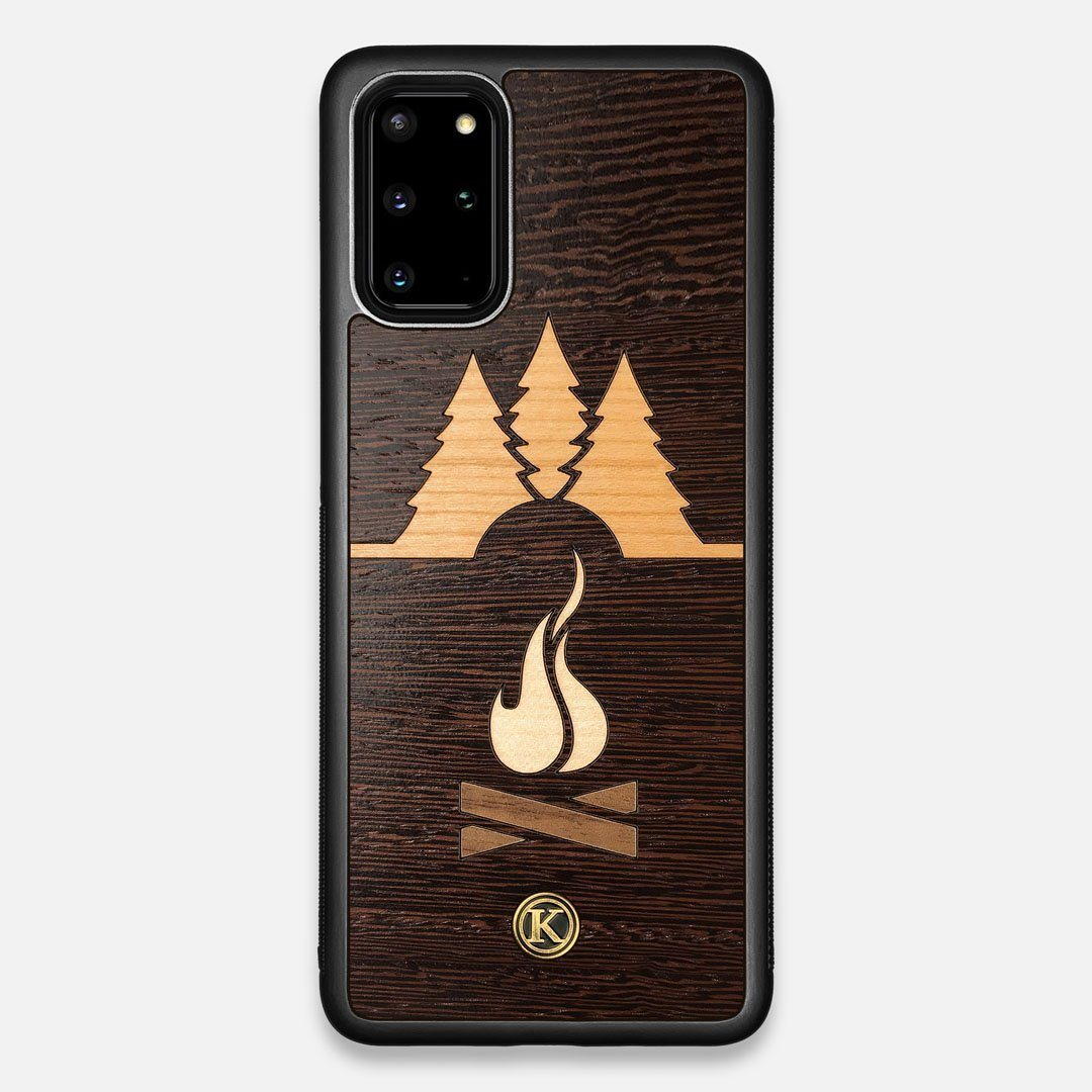 Front view of the Nomad Campsite Wood Galaxy S20+ Case by Keyway Designs