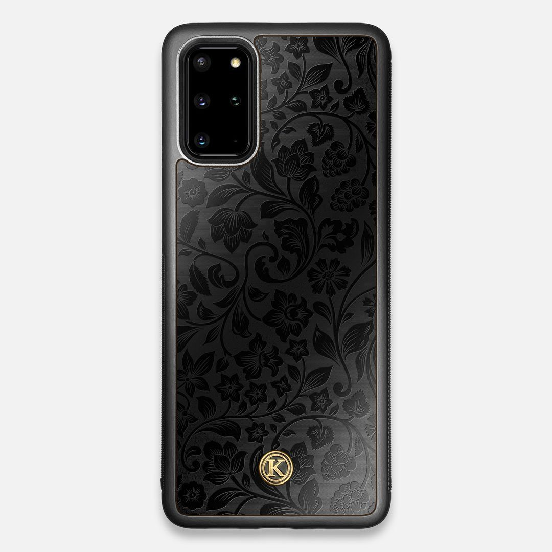 Front view of the highly detailed midnight floral engraving on matte black impact acrylic Galaxy S20+ Case by Keyway Designs