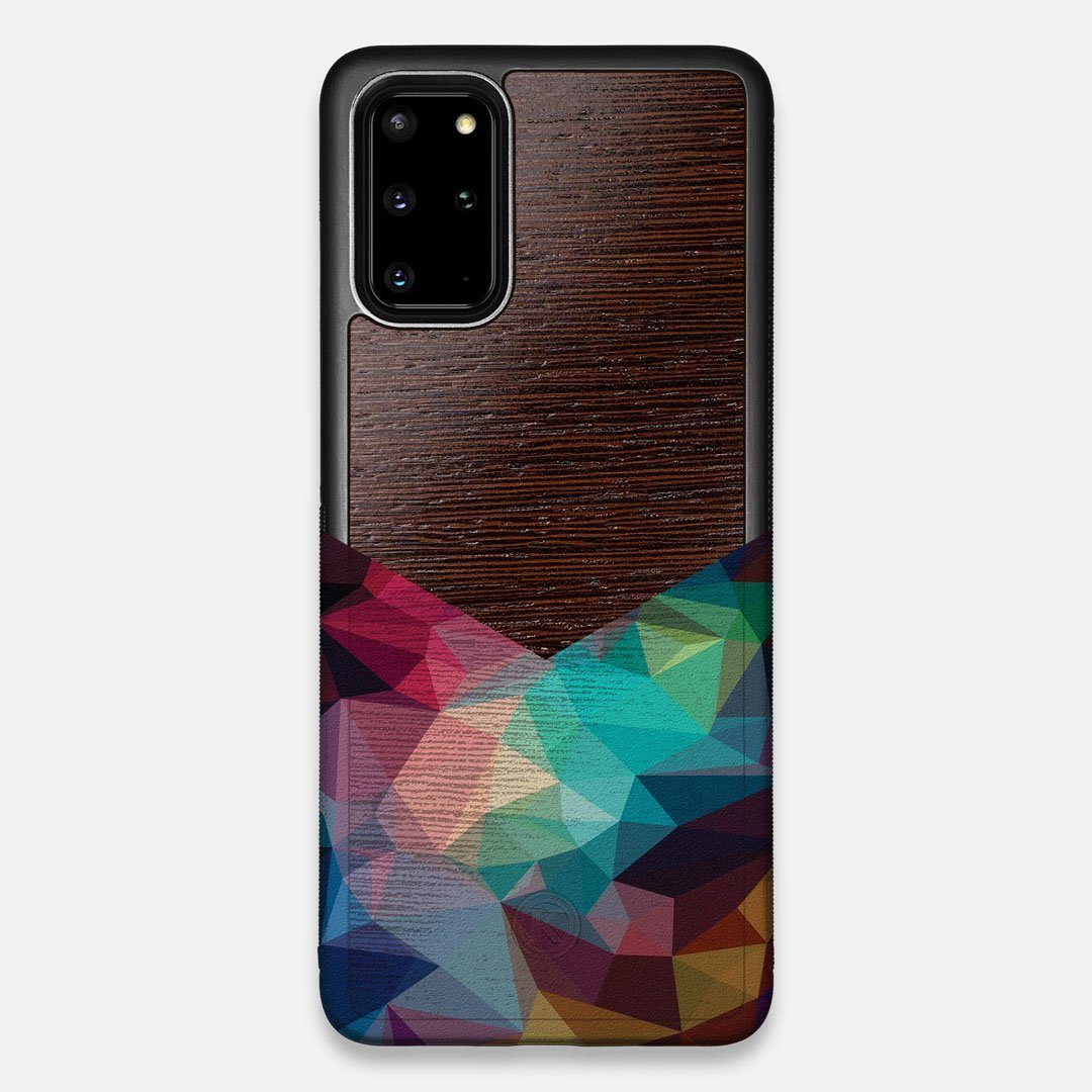 Front view of the vibrant Geometric Gradient printed Wenge Wood Galaxy S20+ Case by Keyway Designs