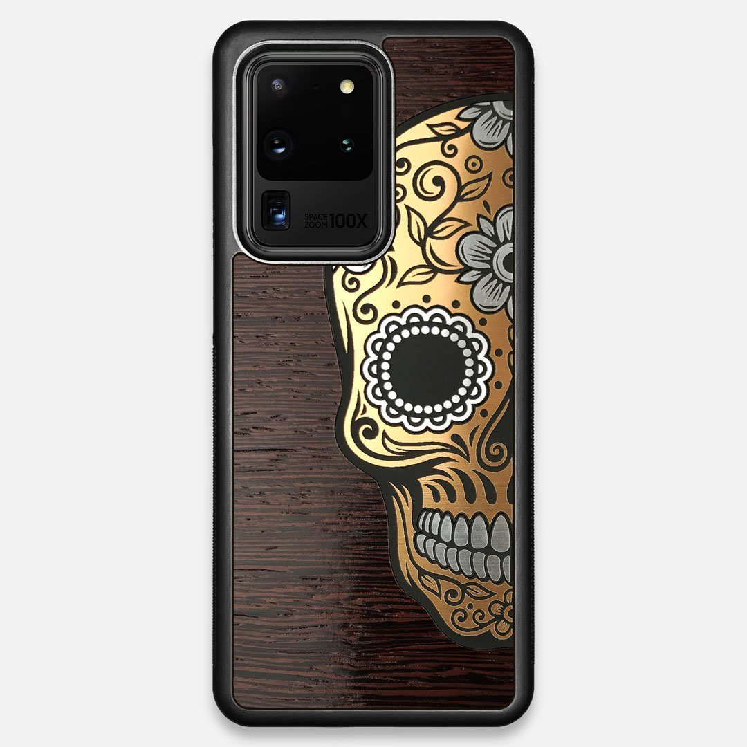 Front view of the Calavera Wood Sugar Skull Wood Galaxy S20 Ultra Case by Keyway Designs