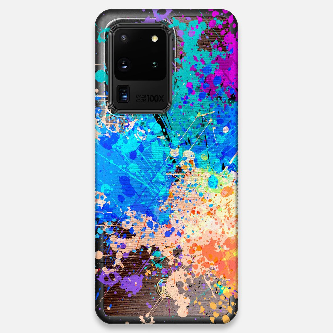 Front view of the realistic paint splatter 'Chroma' printed Wenge Wood Galaxy S20 Ultra Case by Keyway Designs
