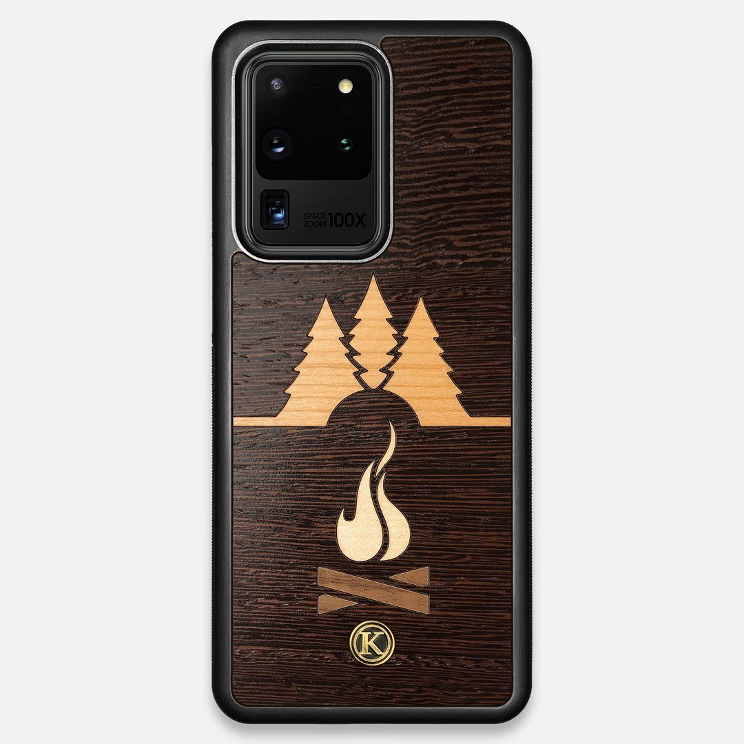 Front view of the Nomad Campsite Wood Galaxy S20 Ultra Case by Keyway Designs