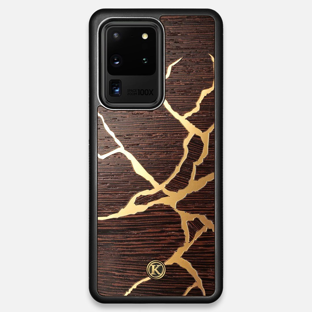 Front view of the Kintsugi inspired Gold and Wenge Wood Galaxy S20 Ultra Case by Keyway Designs