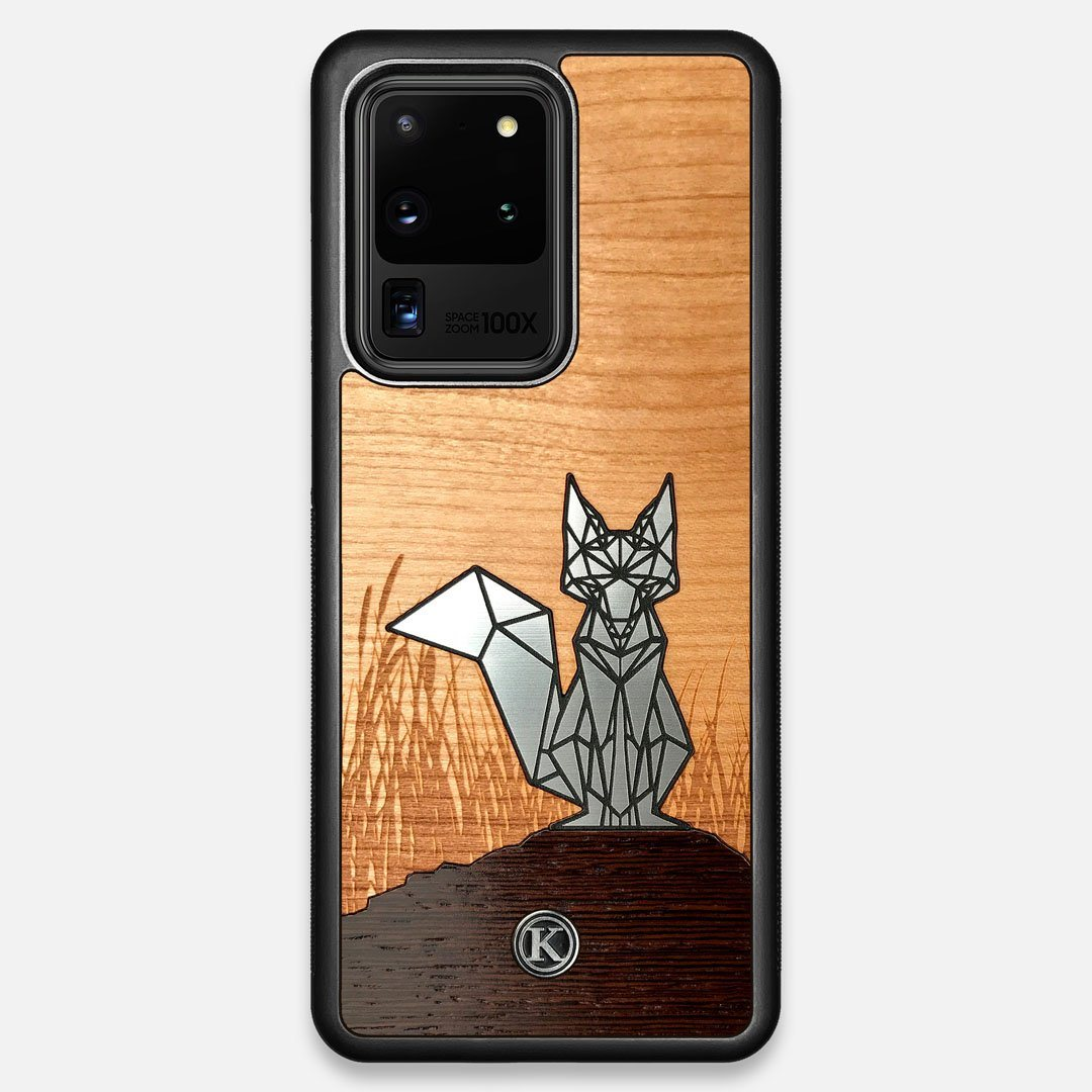 Front view of the Silver Fox & Cherry Wood Galaxy S20 Ultra Case by Keyway Designs