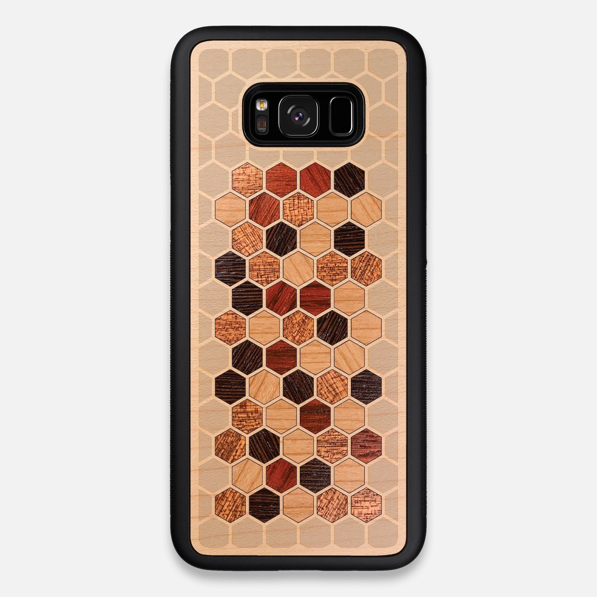 Front view of the Cellular Maple Wood Galaxy S8+ Case by Keyway Designs