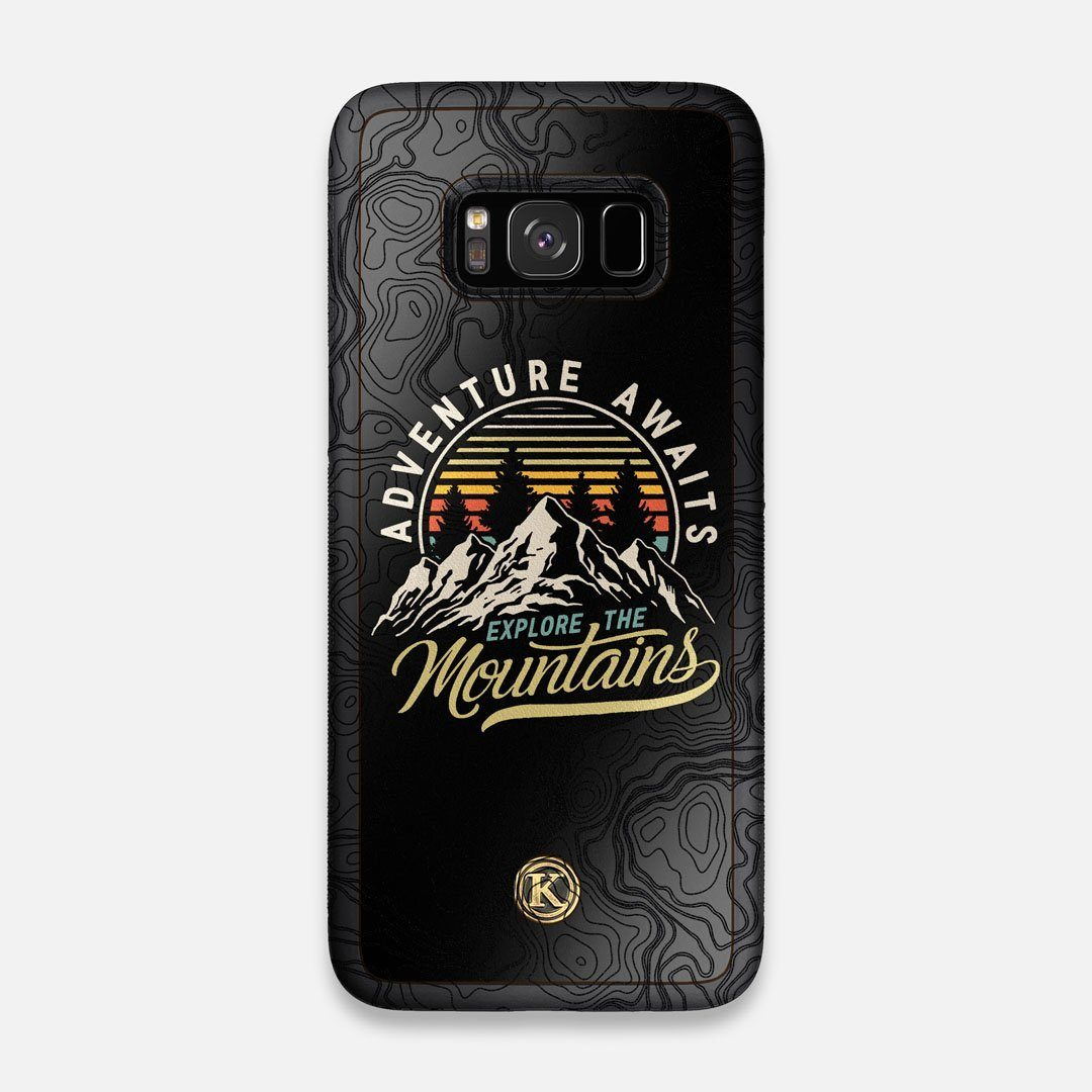 Front view of the crisp topographical map with Explorer badge printed on matte black impact acrylic Galaxy S8 Case by Keyway Designs