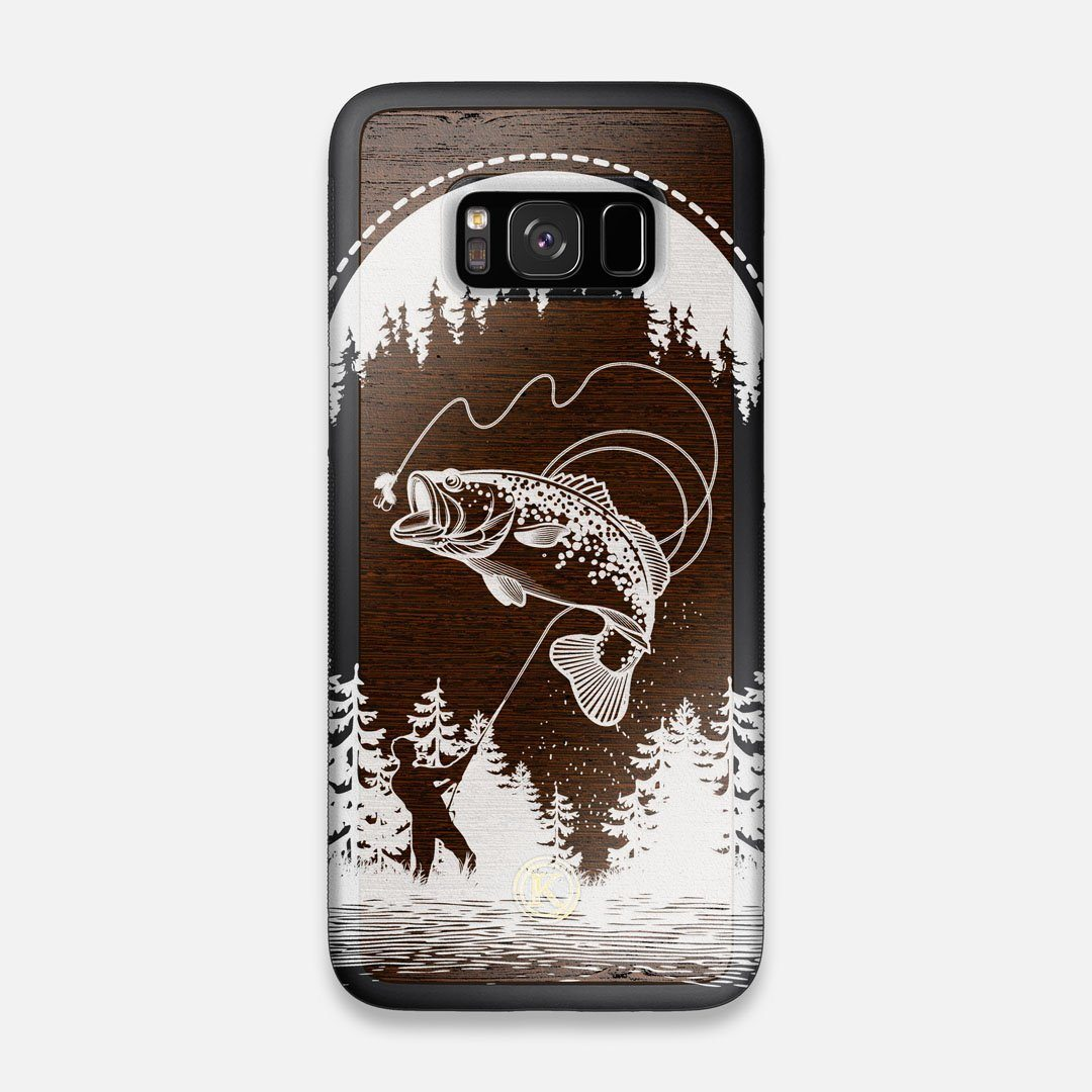 Front view of the high-contrast spotted bass printed Wenge Wood Galaxy S8 Case by Keyway Designs