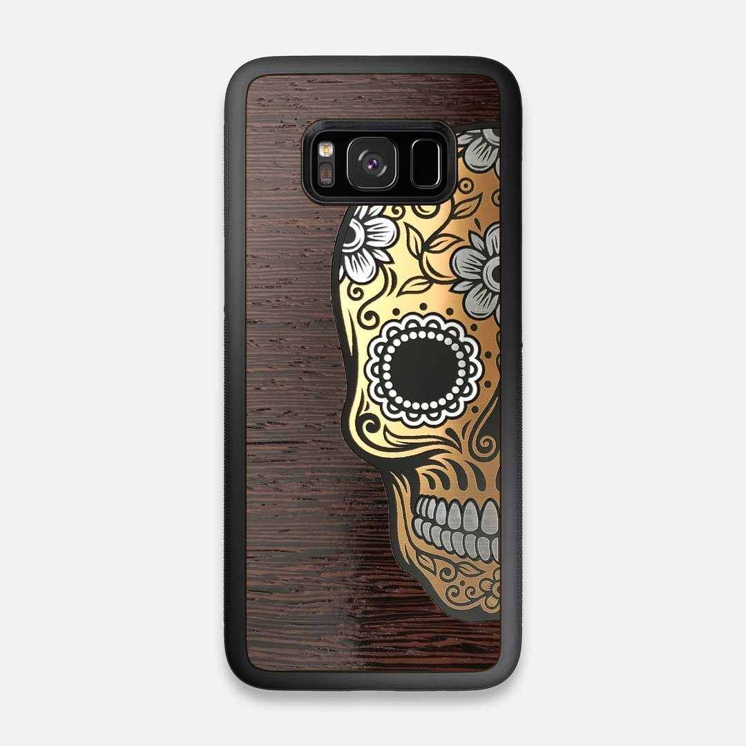 Front view of the Calavera Wood Sugar Skull Wood Galaxy S8 Case by Keyway Designs