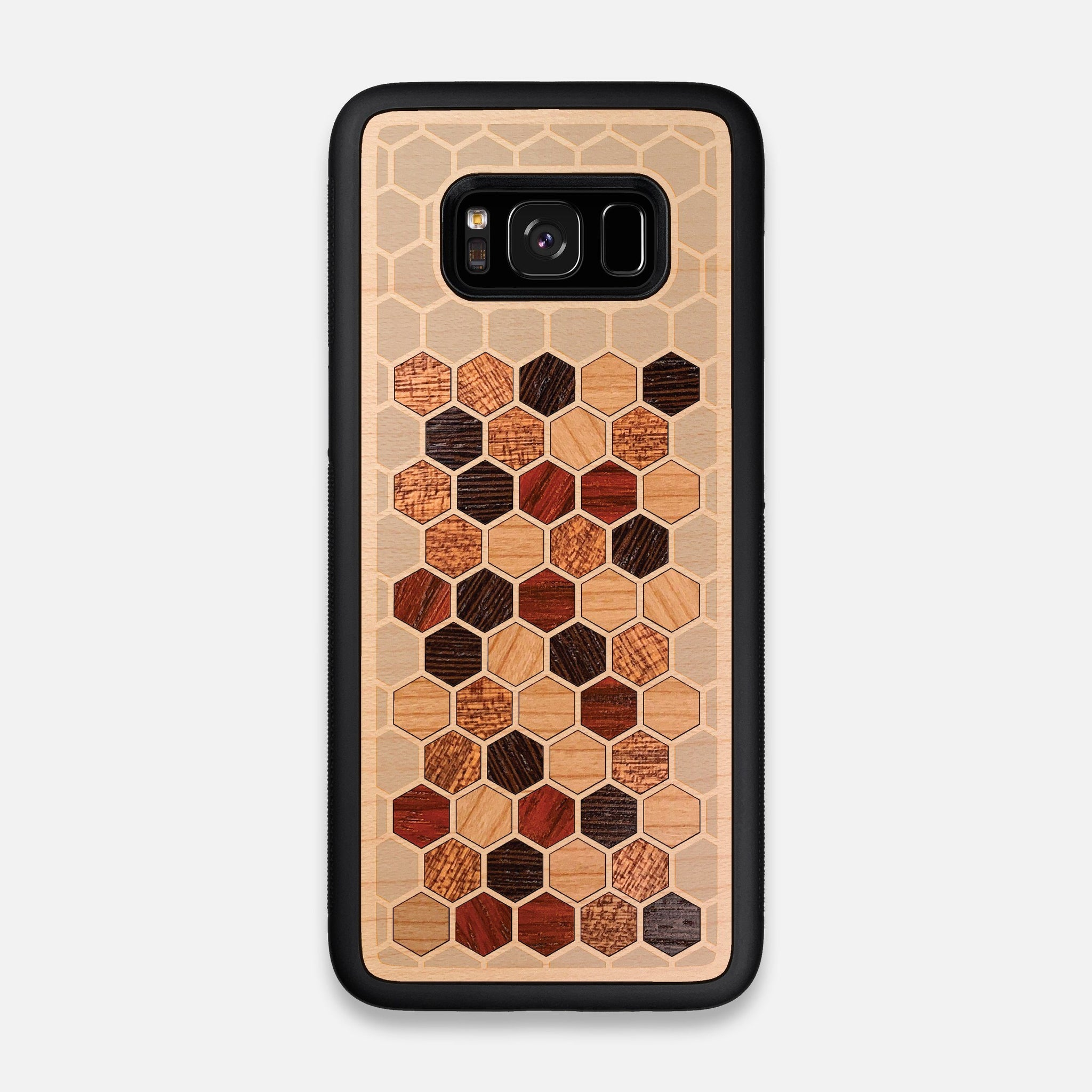 Front view of the Cellular Maple Wood Galaxy S8 Case by Keyway Designs