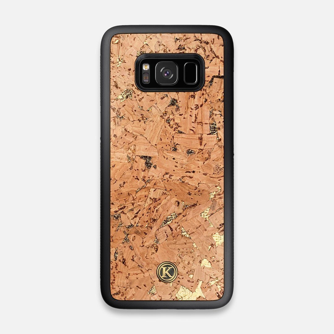 Front view of the gold fleck natural cork Galaxy S8 Case by Keyway Designs