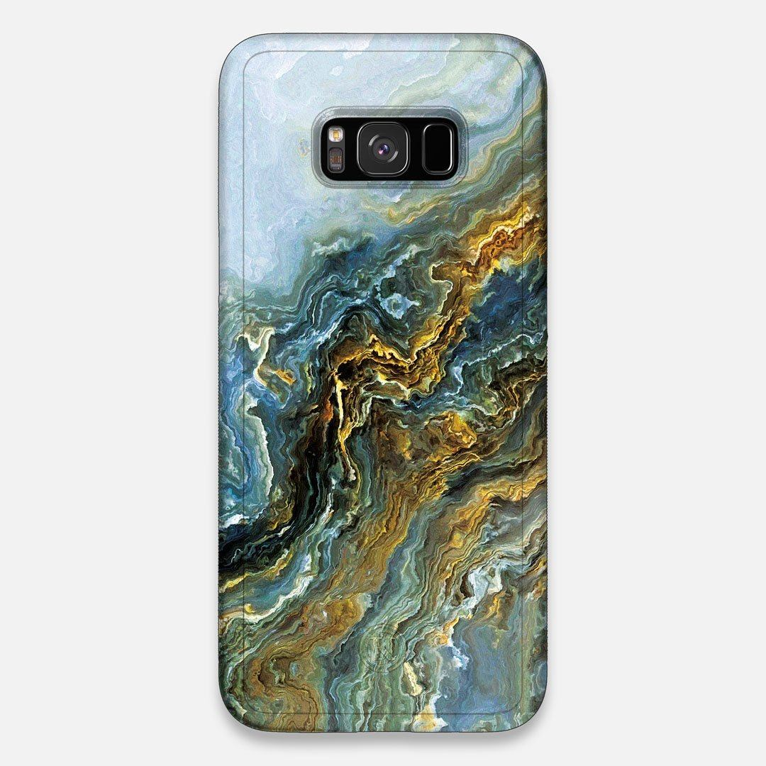 Front view of the vibrant and rich Blue & Gold flowing marble pattern printed Wenge Wood Galaxy S8+ Case by Keyway Designs
