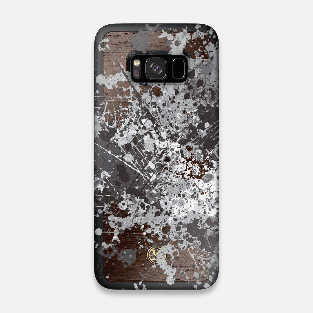 Front view of the aggressive, monochromatic splatter pattern overprintedprinted Wenge Wood Galaxy S8 Case by Keyway Designs