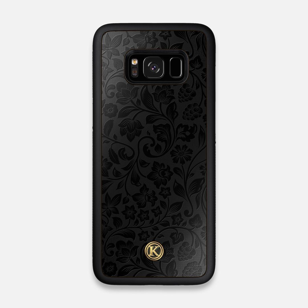 Front view of the highly detailed midnight floral engraving on matte black impact acrylic Galaxy S8 Case by Keyway Designs