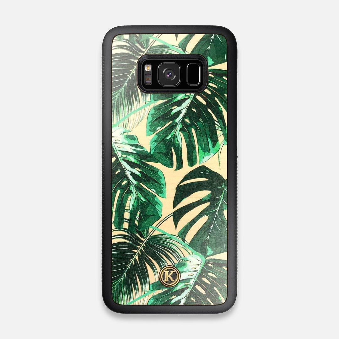 Front view of the Palm leaf printed Maple Wood Galaxy S8 Case by Keyway Designs