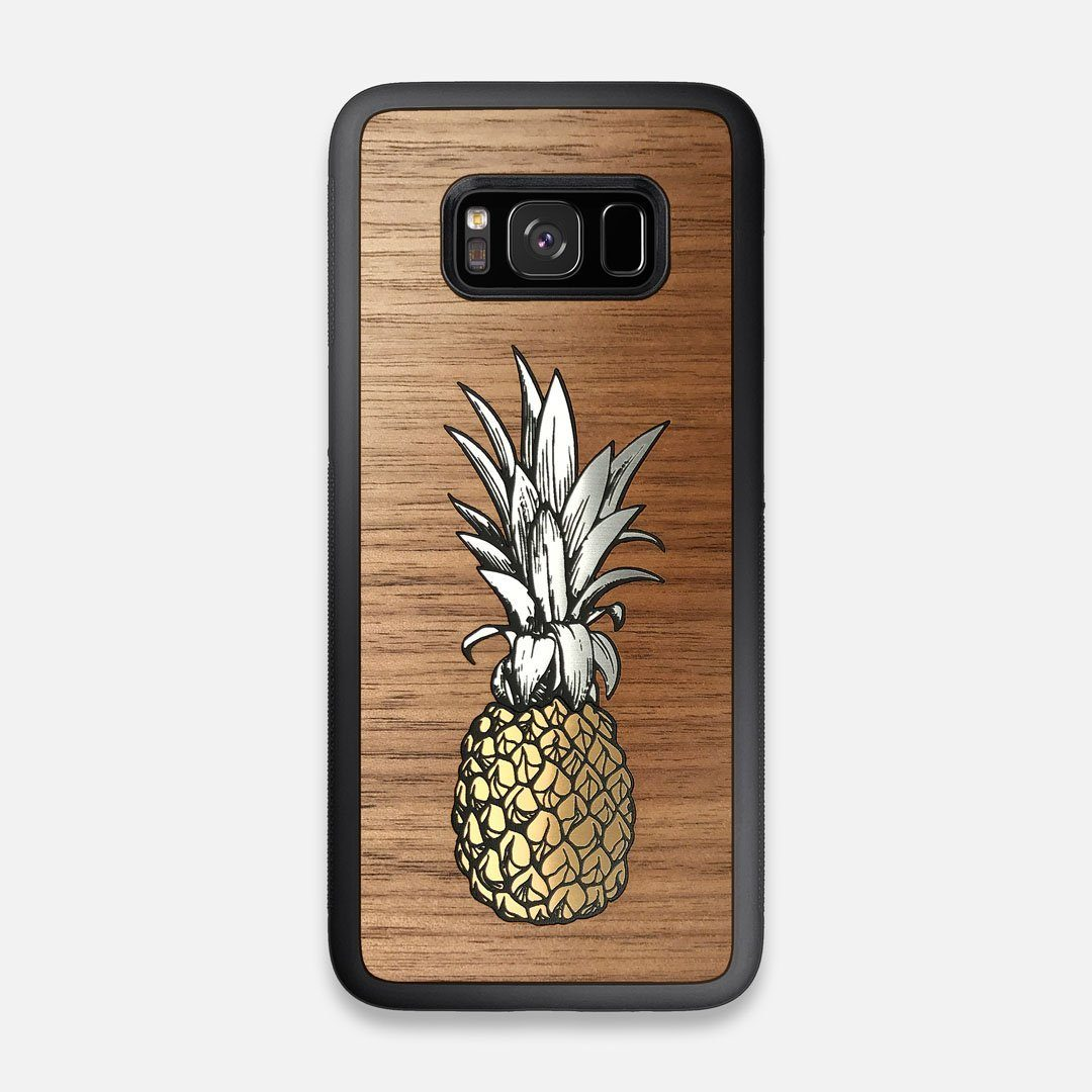 Front view of the Pineapple Walnut Wood Galaxy S8 Case by Keyway Designs