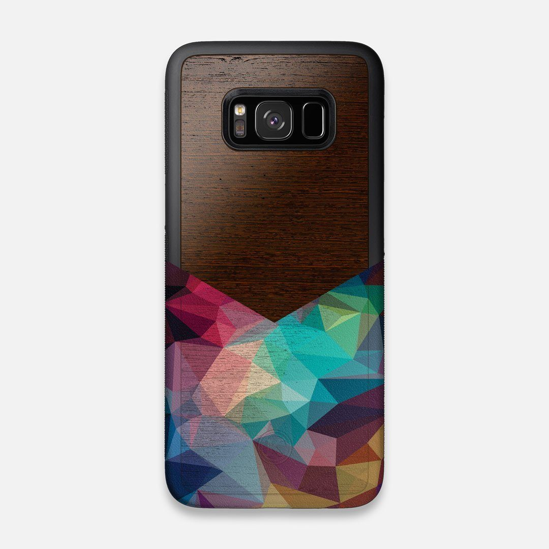 Front view of the vibrant Geometric Gradient printed Wenge Wood Galaxy S8 Case by Keyway Designs