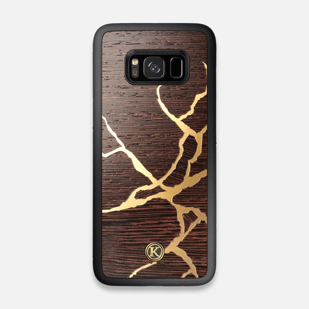 Front view of the Kintsugi inspired Gold and Wenge Wood Galaxy S8 Case by Keyway Designs