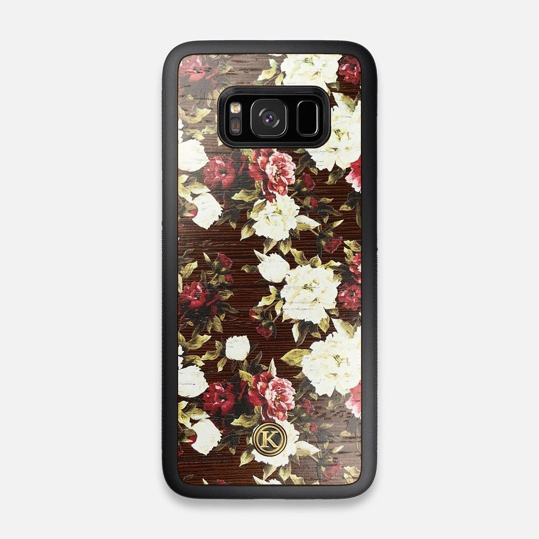 Front view of the Rose white and red rose printed Wenge Wood Galaxy S8 Case by Keyway Designs