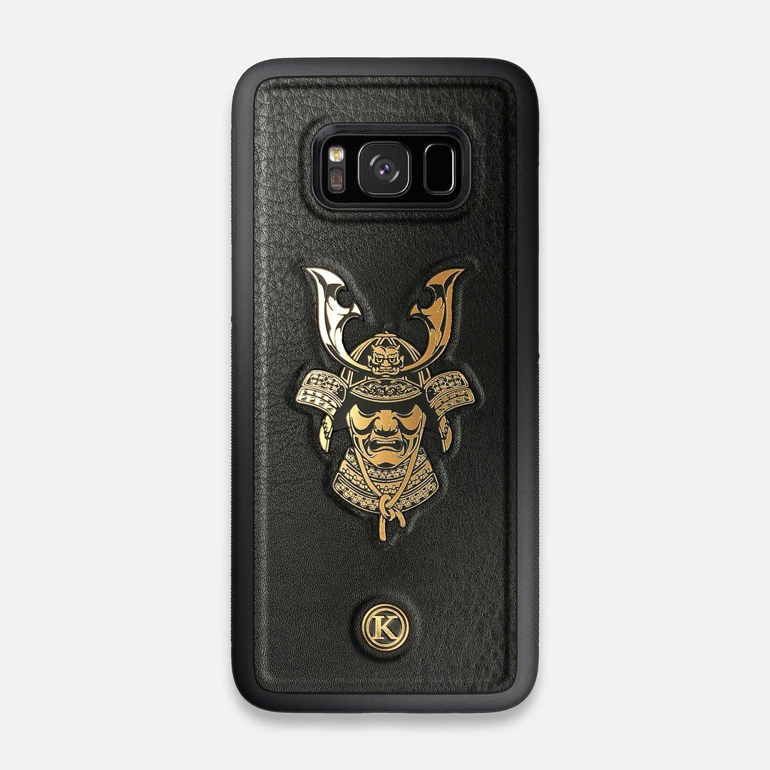 Front view of the Samurai Black Leather Galaxy S8 Case by Keyway Designs