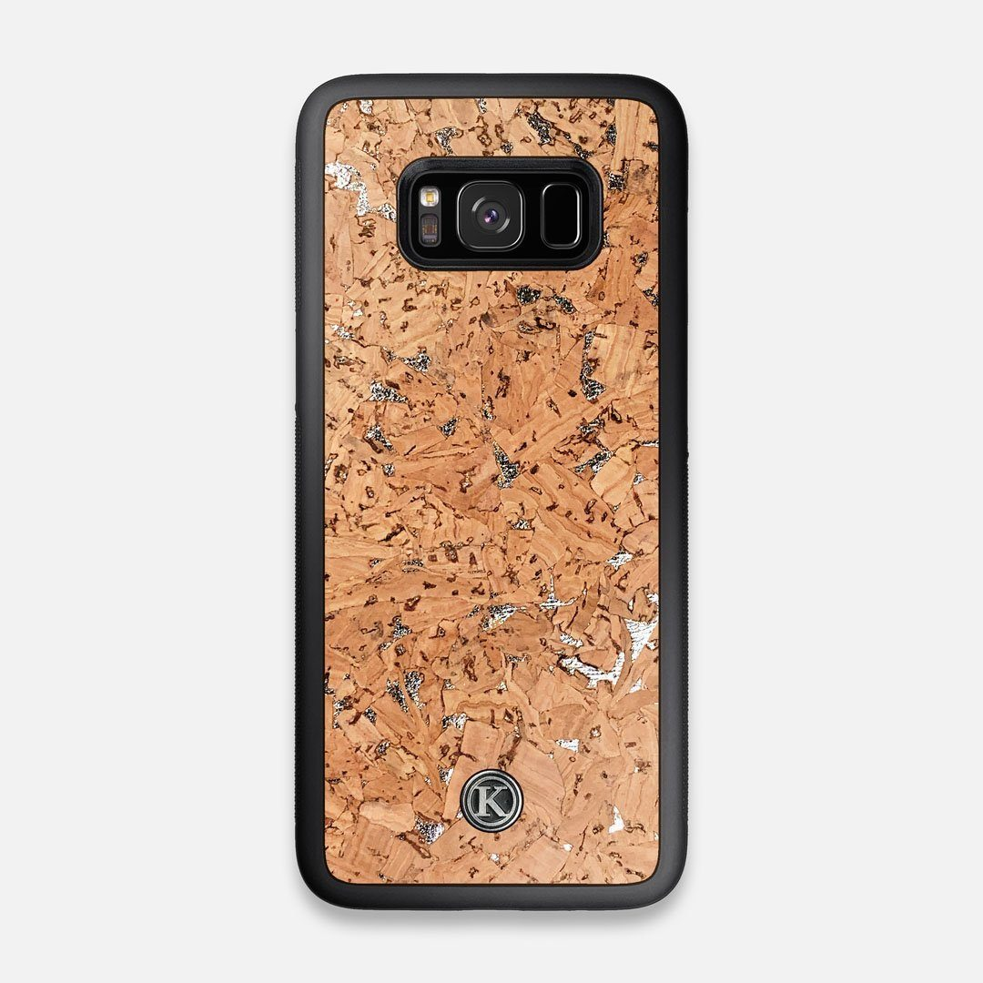 Front view of the silver fleck natural cork Galaxy S8 Case by Keyway Designs