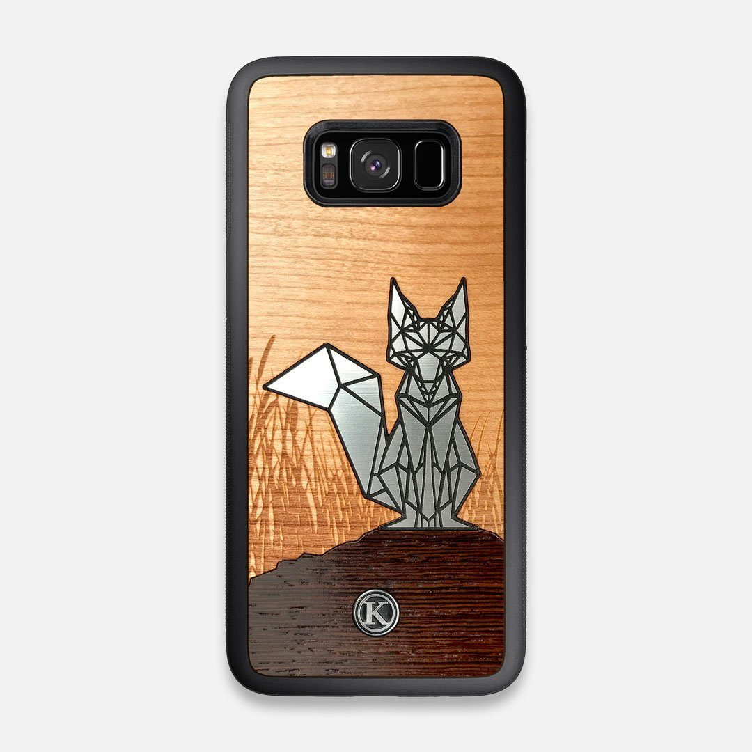 Front view of the Silver Fox & Cherry Wood Galaxy S8 Case by Keyway Designs