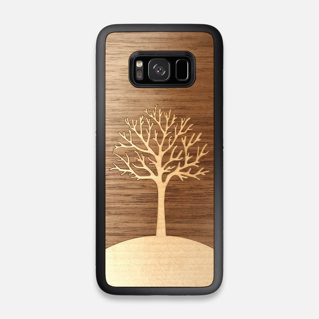 Front view of the Tree Of Life Walnut Wood Galaxy S8 Case by Keyway Designs