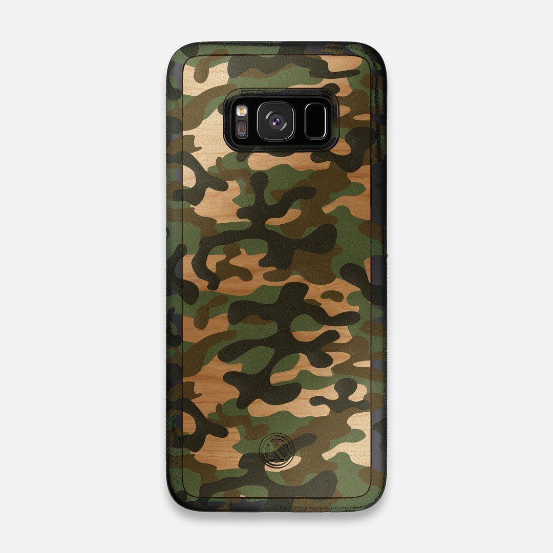 Front view of the stealth Paratrooper camo printed Wenge Wood Galaxy S8 Case by Keyway Designs
