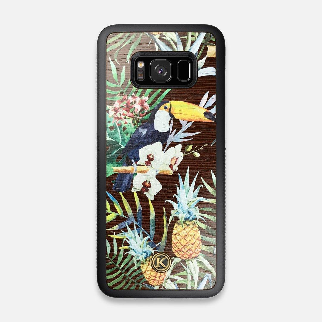 Front view of the Tropic Toucan and leaf printed Wenge Wood Galaxy S8 Case by Keyway Designs