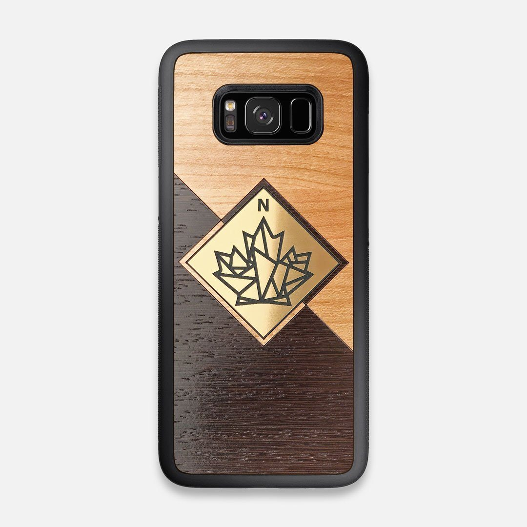 Front view of the True North by Northern Philosophy Cherry & Wenge Wood Galaxy S8 Case by Keyway Designs