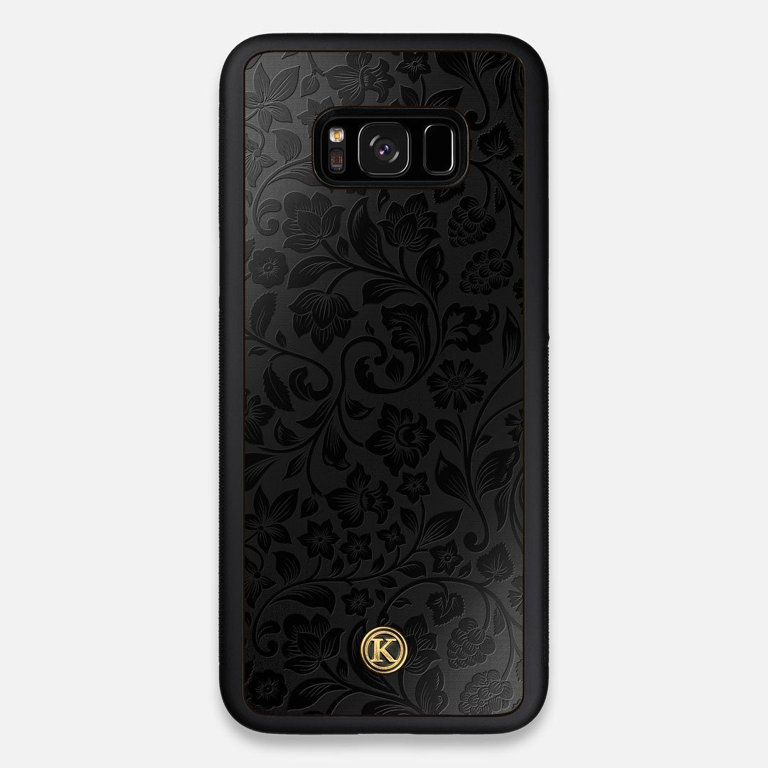 Front view of the highly detailed midnight floral engraving on matte black impact acrylic Galaxy S8+ Case by Keyway Designs