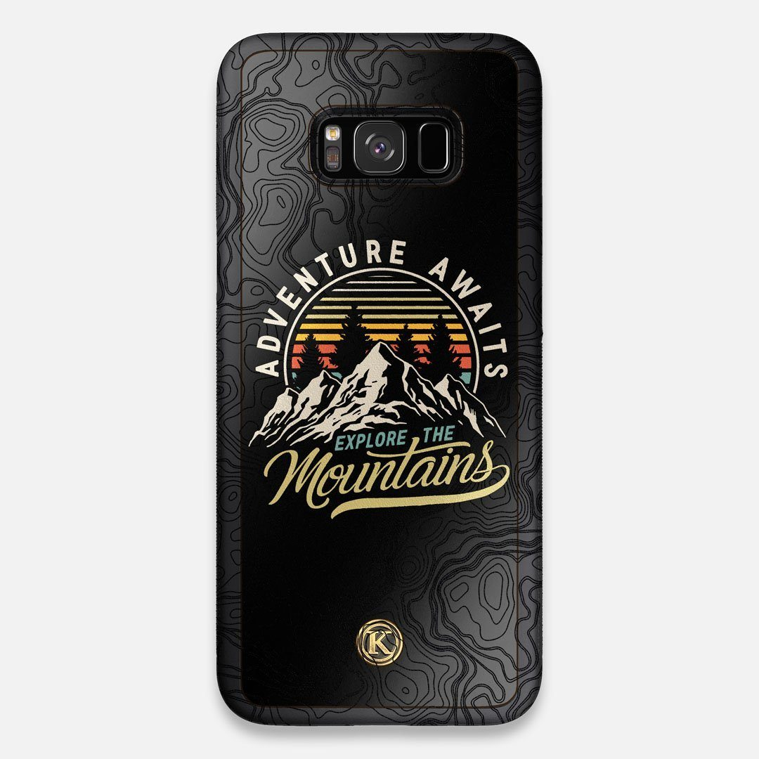Front view of the crisp topographical map with Explorer badge printed on matte black impact acrylic Galaxy S8+ Case by Keyway Designs