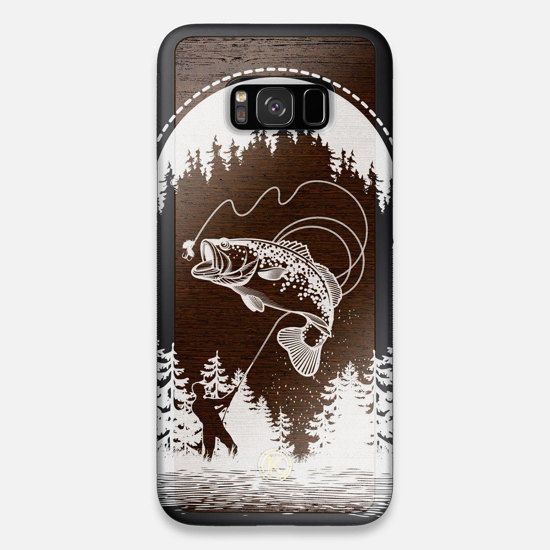 Front view of the high-contrast spotted bass printed Wenge Wood Galaxy S8+ Case by Keyway Designs