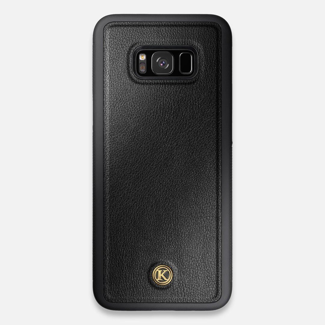 Front view of the Blank Black Leather Galaxy S8+ Case by Keyway Designs