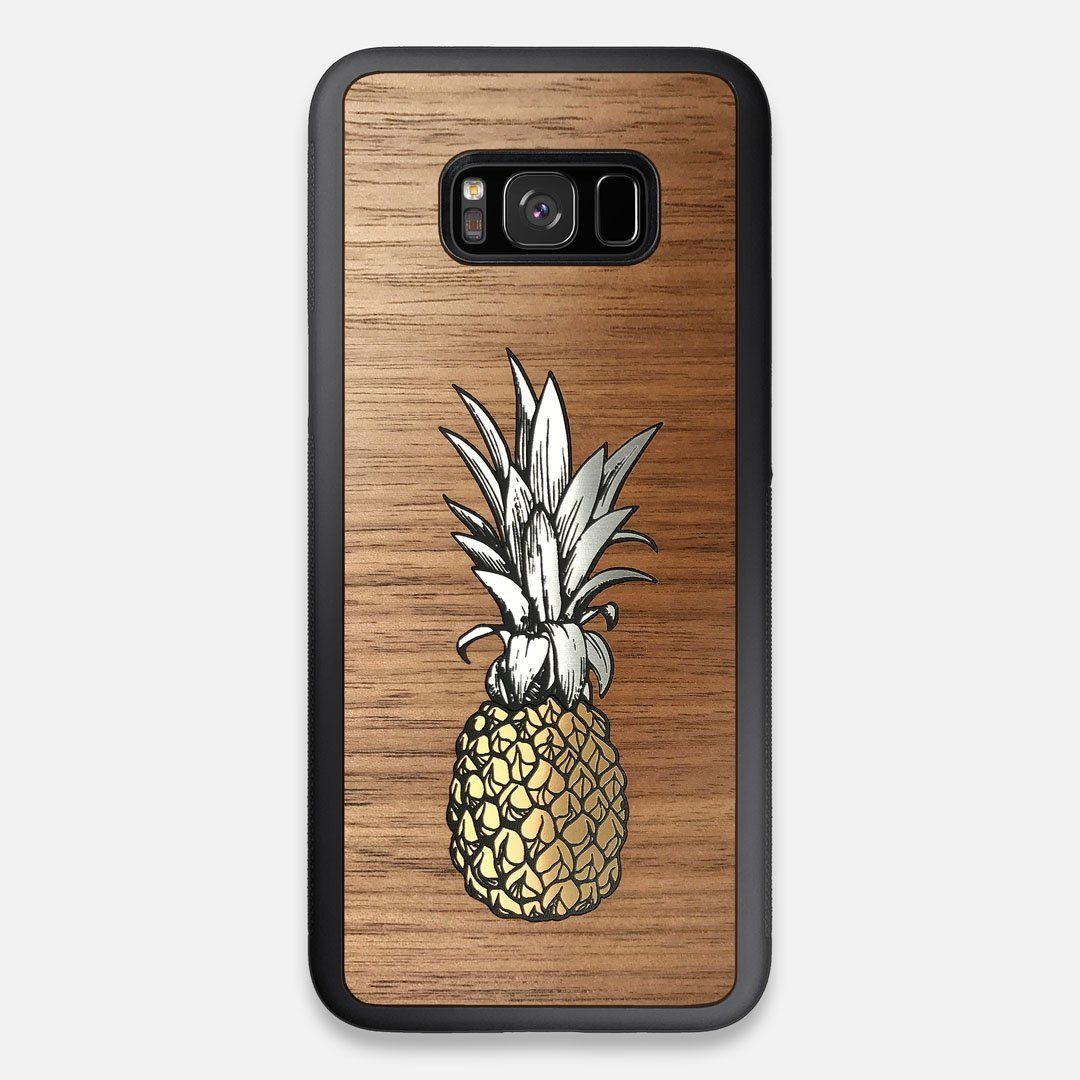 Front view of the Pineapple Walnut Wood Galaxy S8+ Case by Keyway Designs