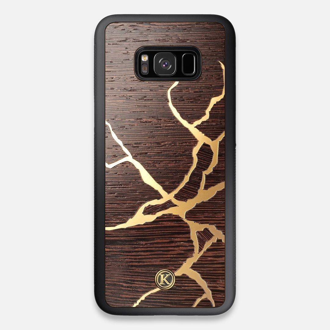 Front view of the Kintsugi inspired Gold and Wenge Wood Galaxy S8+ Case by Keyway Designs
