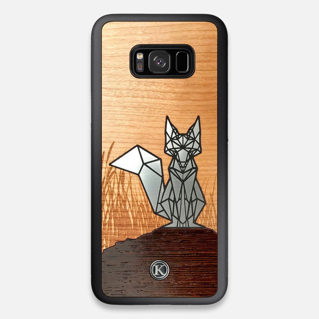 Front view of the Silver Fox & Cherry Wood Galaxy S8+ Case by Keyway Designs