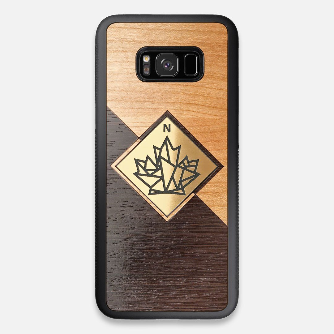 Front view of the True North by Northern Philosophy Cherry & Wenge Wood Galaxy S8+ Case by Keyway Designs