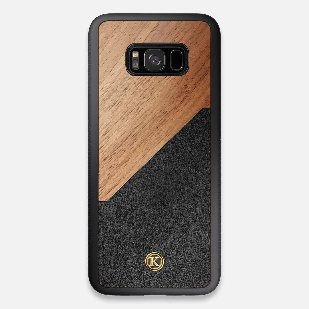 Front view of the Walnut Rift Elegant Wood & Leather Galaxy S8+ Case by Keyway Designs