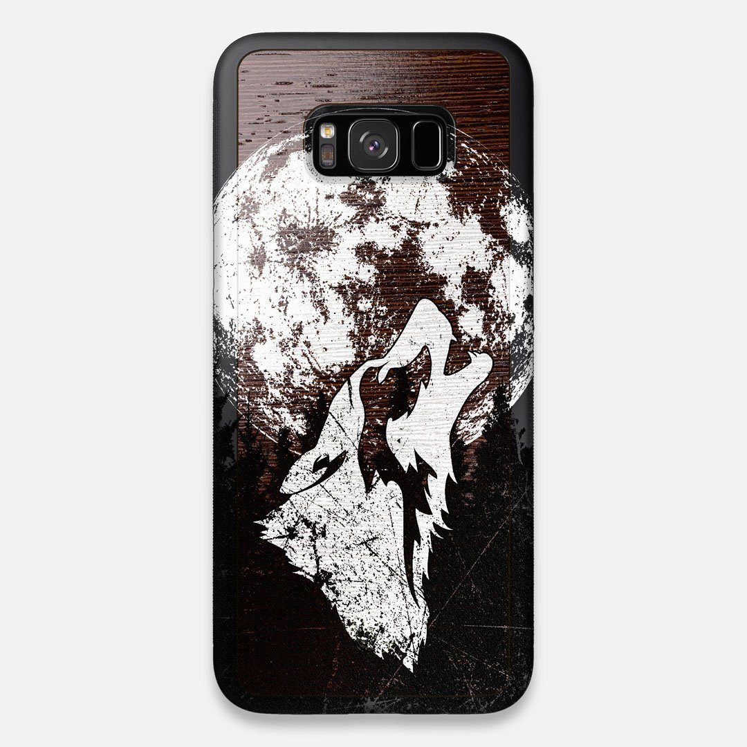 Front view of the high-contrast howling wolf on a full moon printed on a Wenge Wood Galaxy S8+ Case by Keyway Designs