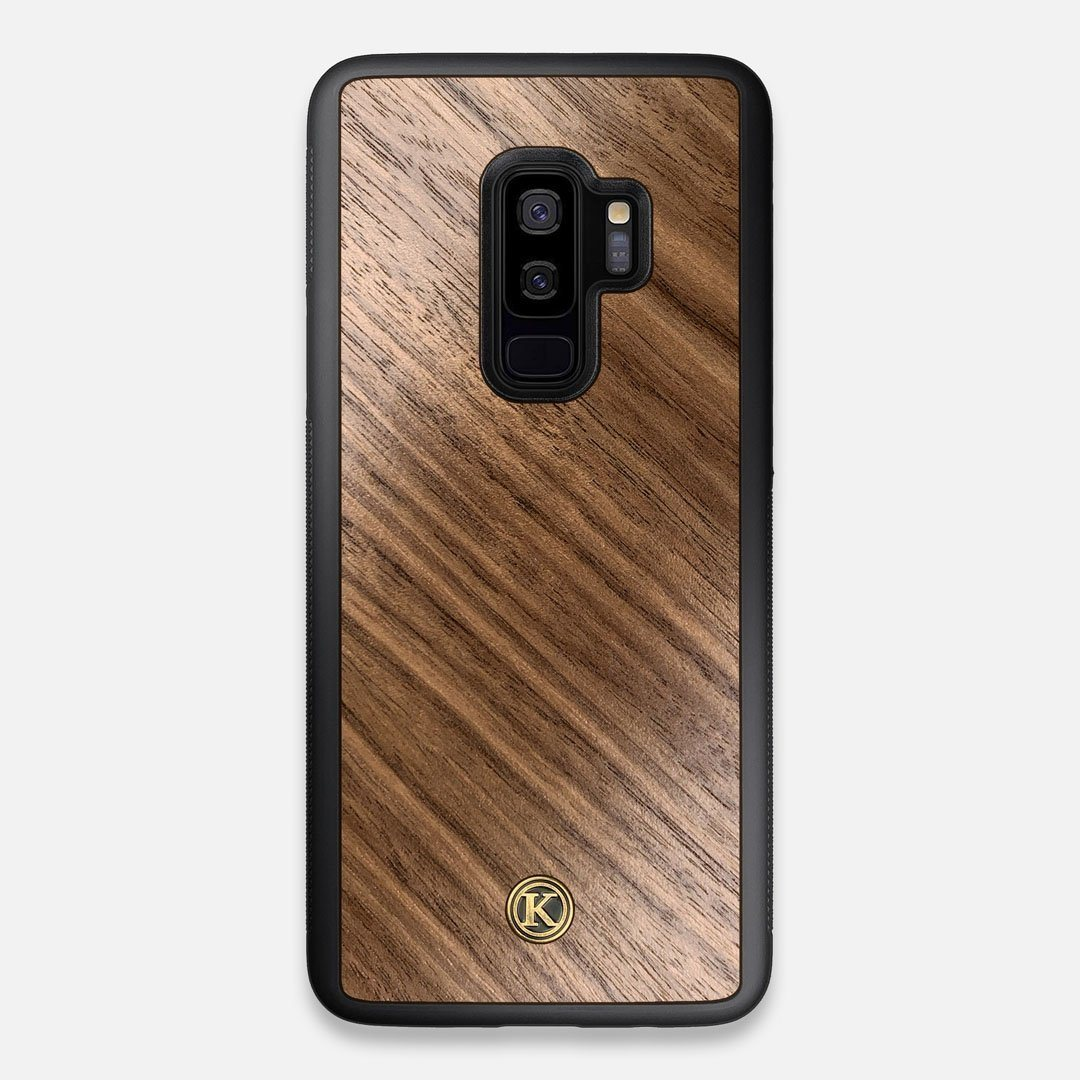 Front view of the Walnut Pure Minimalist Wood Galaxy S9+ Case by Keyway Designs