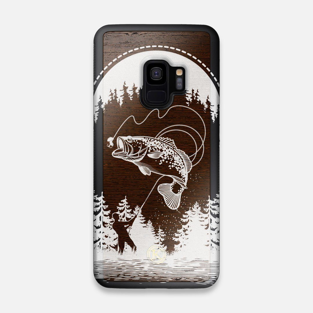 Front view of the high-contrast spotted bass printed Wenge Wood Galaxy S9 Case by Keyway Designs