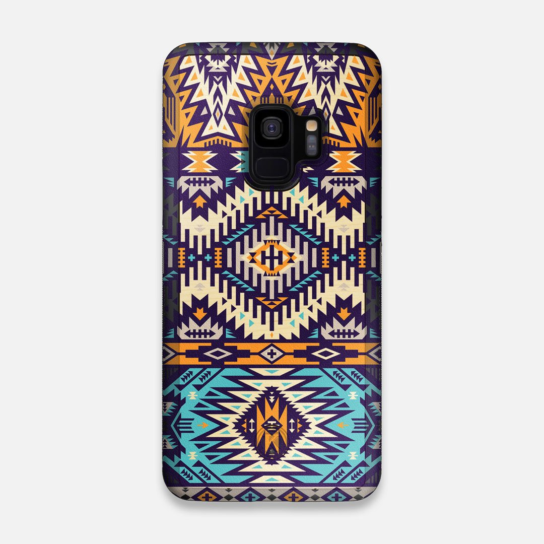 Front view of the vibrant Aztec printed Maple Wood Galaxy S9 Case by Keyway Designs