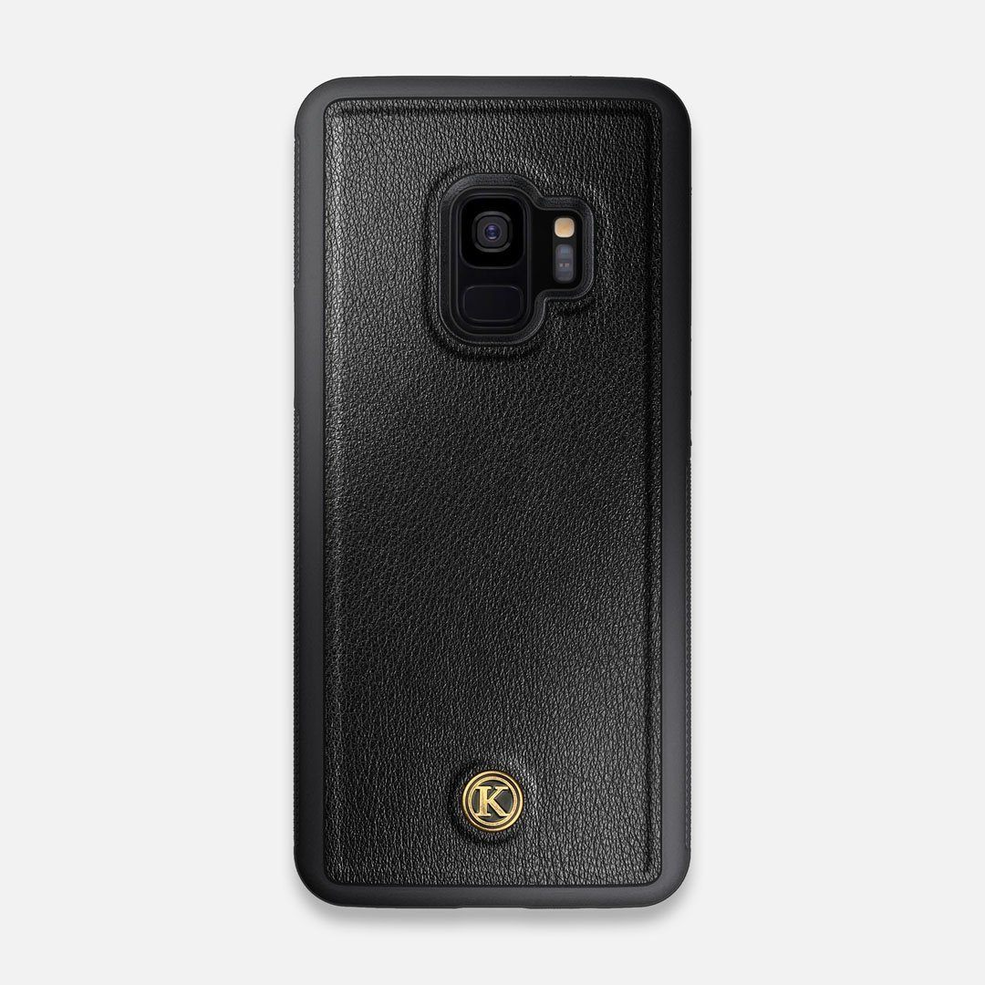 Front view of the Blank Black Leather Galaxy S9 Case by Keyway Designs