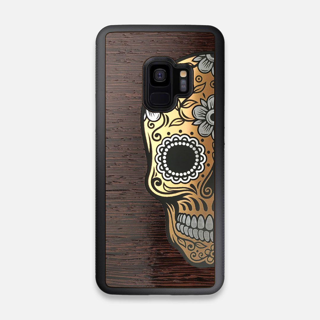 Front view of the Calavera Wood Sugar Skull Wood Galaxy S9 Case by Keyway Designs